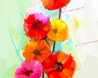 """Multi Color Spring Flowers Abstract Canvas Giclee Painting, Acrylic Art W Gallery Wrap Ready To Hang Up To Size 30X42X1.5"""""""