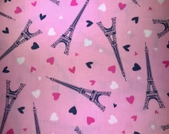 Paris, France pink fabric with hearts