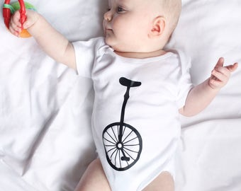 Unicycle baby body - White, babygrow, onesie, gender neutral, circus