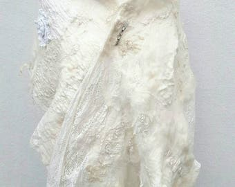 "Long felted shawl ""Lily of the Valley"" antique Lace and soft merinowool! Felted, nunofelting, bride, filz, feltingwork, bridal, nunofelted"