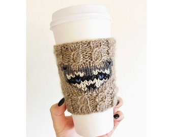 Knitted Raccoon Coffee Cozy | Knitted Coffee Cozy | Eco-Friendly | Coffee Sleeve