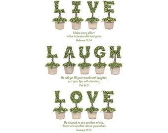 Live Laugh Love Topiary Letter Print with Verses