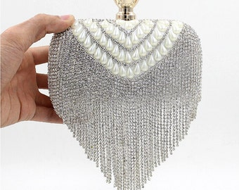 Silver  wedding clutch, Bridal clutch, Crystal rhinestone clutch, evening bag, Pearl clutch, bridesmaid bag, crystal clutch rhinestone bag