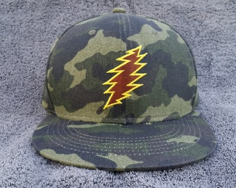 Bolt Snapback Hat / Camo with Brown Bolt