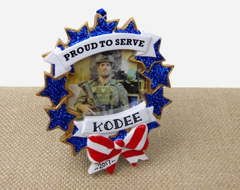 SHIPS FREE - US Military Personalized Frame Ornament - Proud to Serve - Hand Personalized Christmas Ornament