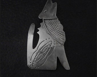Classic Coyote Brooch pin: Handcrafted, Sterling Silver, Collectible, '60s era, Vintage