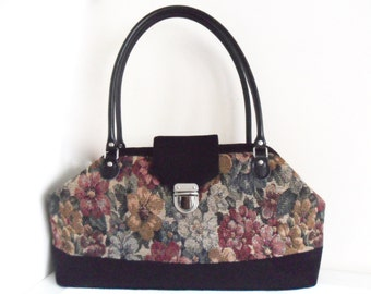Carpet bag, Mary Poppins bag, textile handbag.