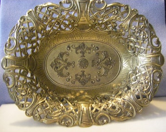 """stunning BRASS  """"LACE"""" oblong ITALY bowl"""