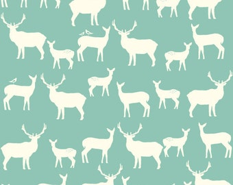 Organic Knit, Elk Family in Pool, Elk Grove Collection by Jay-Cyn Designs for Birch Fabrics 3538