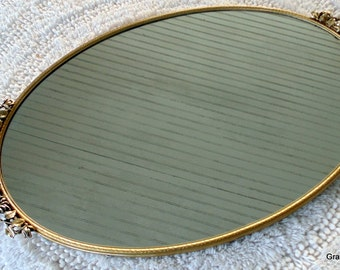 Vintage Matson Oval Mirror Gold Plated Bathroom Vanity Mirrored Tray, Dresser Tray, Gold Tray