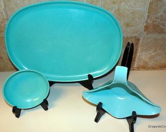 Genuine Vintage Melmac Turquoise Blue *Ovation* by Westinghouse Platter, Bowl Gravy Boat, Sauce Bowl, Chip 'N Dip Set Retro Kitchen, U.S.A.
