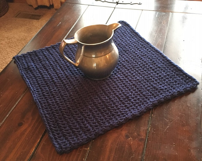 Featured listing image: Simple Square Table Scarf -- a loom knit pattern