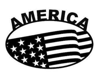 "America Decal 5.5""x3.5"""