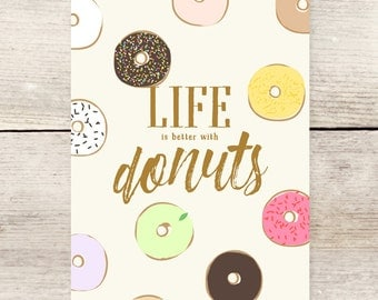 Life is Better with Donuts, Doughnut greeting card
