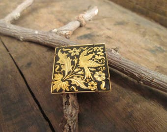 vintage damascene swallow bird and floral design square or diamond shaped brooch