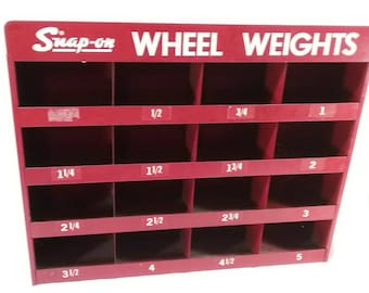 Vintage snap on wheel weight wall storage parts bin gas and oil advertising