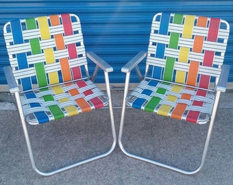 Pair Of Vintage Rainbow Webbed Aluminum Folding Lawn Chairs Retro Patio