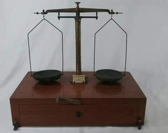Vintage laboratory balance scales wood and brass made by Voland and Sons New Rochelle N.Y.