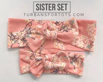 "Japanese Blossom :  Sister set - 1 regular & 1 ""skinny"" set of top knots"