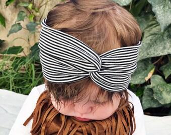 Pin Striped baby turban headband