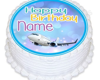 "ND4 airplane round 7.5"" icing cake topper"