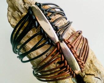 Black leather cuff bracelet for woman, multi string bracelet with large silver bead, boho, best friend bracelet for 2, same sex couple gift