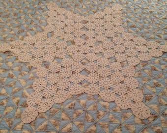 Vintage Star Design Crocheted Table Cloth