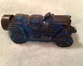 Vintage 1970's Avon After Shave Stanley Steamer Blue Car Bottle