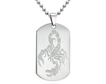 Scorpio Dog Tag Necklace, Personalized Engraved  Stainless Steel Dog Tag Necklace, Dog Tag Necklace with Engraved Scorpio, Father's Day Gift