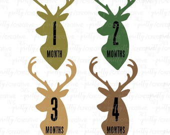 Month by Month Unisex Baby Stickers - Stag Head / Deer Head