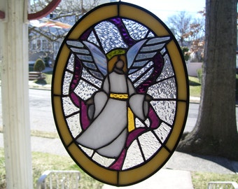 Stained Glass Guardian Angel Sun catcher