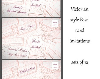 Victorian style custom invitation post card vintage scrapbook look personalized event cards bridal shower tea party anniversary Mother's day