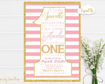 Pink and Gold First Birthday Invitation, Pink and Gold Birthday Invitation, First Birthday invitation - Digital File