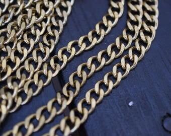 Vintage Solid Brass Diamond Cut Curb Chain