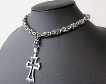 Gothic Chainmail Cross Choker / Long Necklace - Stainless Steel Byzantine Chainmail Goth Cross Jewelry