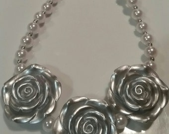 Free Shipping! Baby toddler silver flower and white pearls necklace. girls silver flower necklace