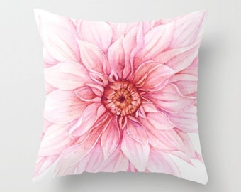 Dahlia Pillow Cover - Pink Flower Pillow Cover - Modern Decor - Aldari Home