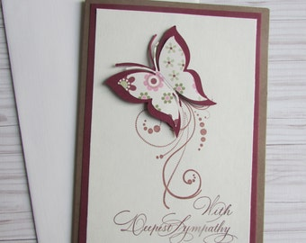Sympathy card-5x7 Greeting cards,With Deepest Sympathy cards,stamped cards,butterfly cards,pretty brown kraft cards,handmade/homemade cards