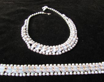 Weiss blue and Rhinestone Set