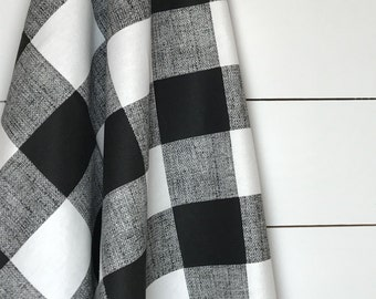 Black & White Buffalo Check Fabric by the Yard Designer Cotton Drapery Curtain or Upholstery Fabric Black White Plaid Check Fabric B142