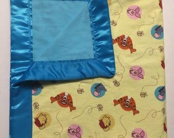 Winnie the Pooh Baby Blanket (yellow), flannel baby blanket, Disney baby blanket, Disney baby, receiving blanket, gender neutral blanket