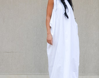 White loose dress, Oversize  dress, White dress, Maxi dress, Summer dress by Kotyto