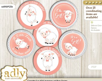 Girl Lamb Cupcake Toppers for Baby Shower Printable DIY, favor tags, circles, It's a Girl, Coral - oz84bPG0