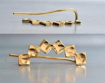 Sterling silver or Gold plated  ear climber, everyday earrings, Ear Sweep, ear crawler earring,  geometric jewelry, ear cuff sterling silver