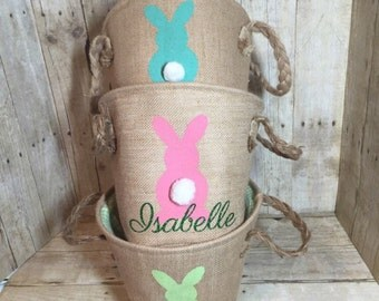 Personalized Burlap Easter Basket. Easter Egg Hunt Pale. Professional Vinyl Pressing. Order Now in Pink, Blue or Green. ON SALE