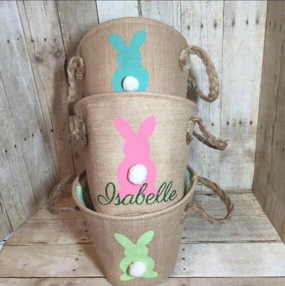 Personalized Burlap Easter Basket Easter Egg Hunt Pale