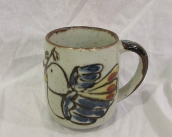 Mug, Coffee or Tea, Ceramic Stoneware, Peace Dove, Olive Branch, Japan, Vintage, 1970's or 1980's