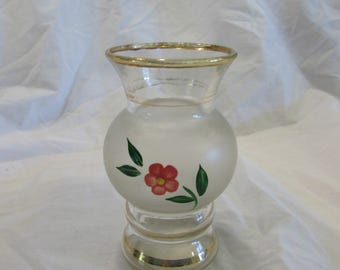 Vase, Bud Vase, Clear to Frosted, Flowers, Hand Painted, Gold Rings, Vintage, Mid Century, 1950's or 1960's