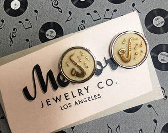 Rock n Roll Earrings, Saxophone & Music Notes Post Earrings made wth Vintage Glass Stones