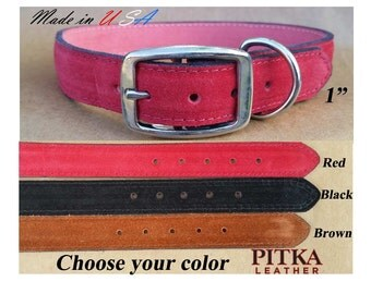 """Leather Suede Dog Collars for Large Dogs - Black Leather Suede Dog Collar 1""""- Red Plain or Studded Leather Suede Dog Collars - Made in USA"""